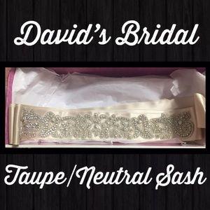 David's Bridal Taupe Rhinestone Wedding  Sash NEW